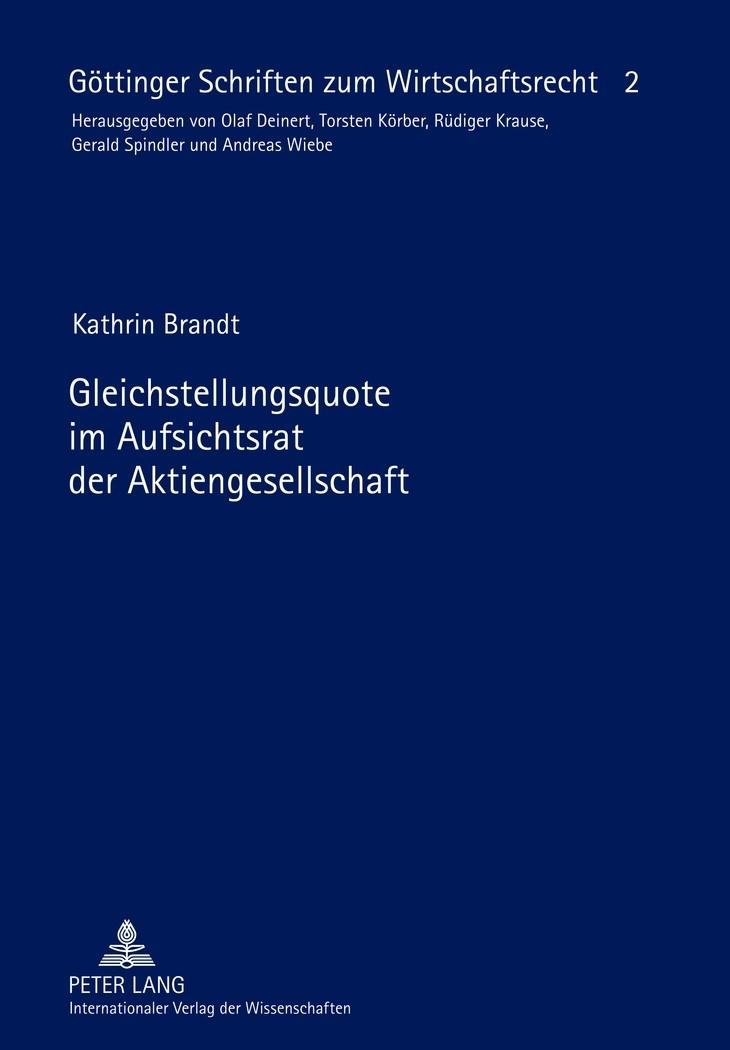 Gleichstellungsquote im Aufsichtsrat der Aktiengesellschaft   Brandt, 2012   Buch (Cover)