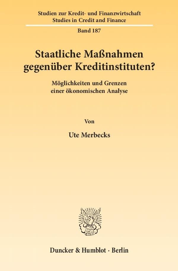 Abbildung von Merbecks | Staatliche Maßnahmen gegenüber Kreditinstituten? | 1. Auflage 2012 | 2012