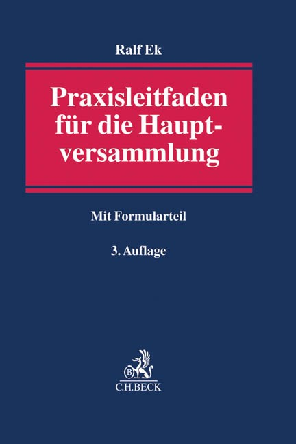 Praxisleitfaden für die Hauptversammlung | Ek | 3. Auflage, 2017 | Buch (Cover)