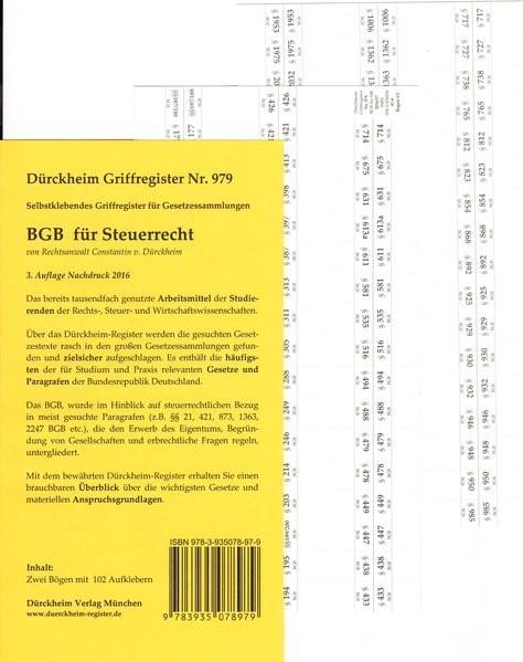 Dürckheim-Register - BGB für Steuerrecht | v. Dürckheim | 3.  Auflage, 2012 (Cover)