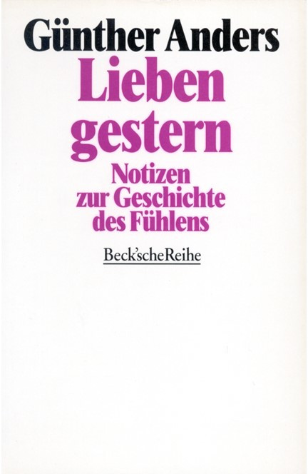 Cover: Guenther Anders, Lieben gestern