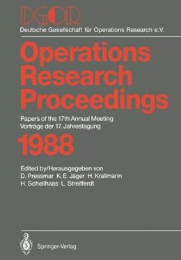 Abbildung von Pressmar / Jäger | DGOR | 1. Auflage | 1989 | 1988 | beck-shop.de