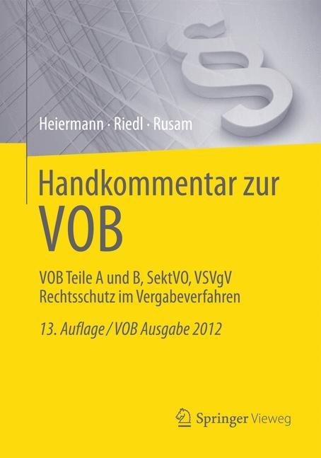Handkommentar zur VOB   Heiermann / Riedl / Rusam   Buch (Cover)