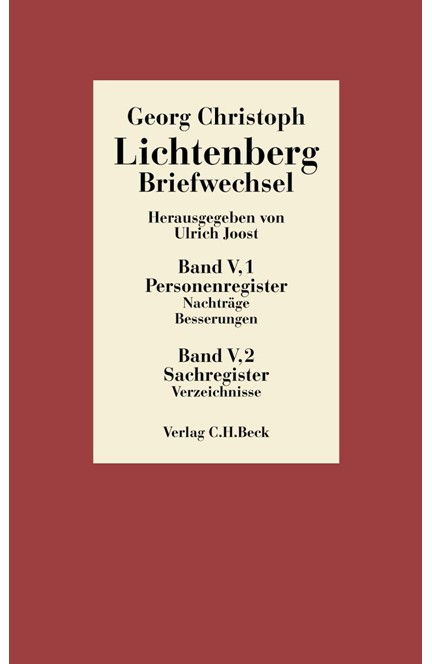 Cover: Georg Christoph Lichtenberg, Lichtenberg, Briefwechsel: Register