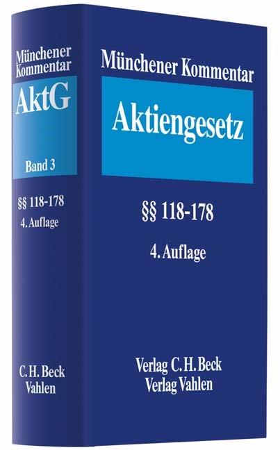 Münchener Kommentar zum Aktiengesetz: AktG, Band 3: §§ 118-178 | 4. Auflage, 2017 | Buch (Cover)