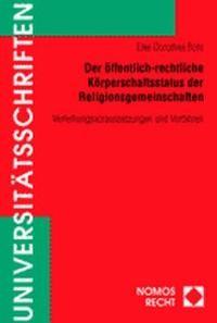 Abbildung von Bohl | Der öffentlich-rechtliche Körperschaftsstatus der Religionsgemeinschaften | 2001