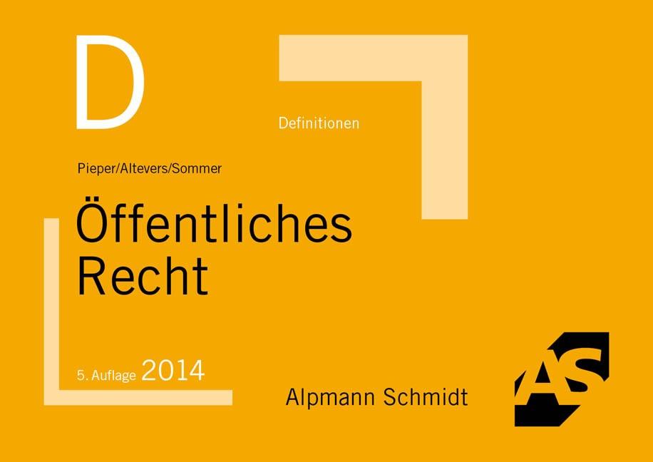 Definitionen Öffentliches Recht | Pieper / Altevers / Sommer | 5. Auflage, 2014 | Buch (Cover)