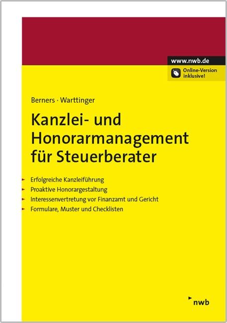 Kanzlei- und Honorarmanagement für Steuerberater | Berners / Warttinger, 2015 (Cover)