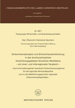 Abbildung von Neumann | Einkommenssituation und Einkommensentwicklung in den strukturschwachen Verdichtungsgebieten Nordrhein-Westfalens — ein inner- und interregionaler Vergleich — | 1. Auflage | 1979 | beck-shop.de