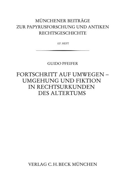 Cover: Guido Pfeifer, Münchener Beiträge zur Papyrusforschung Heft 107