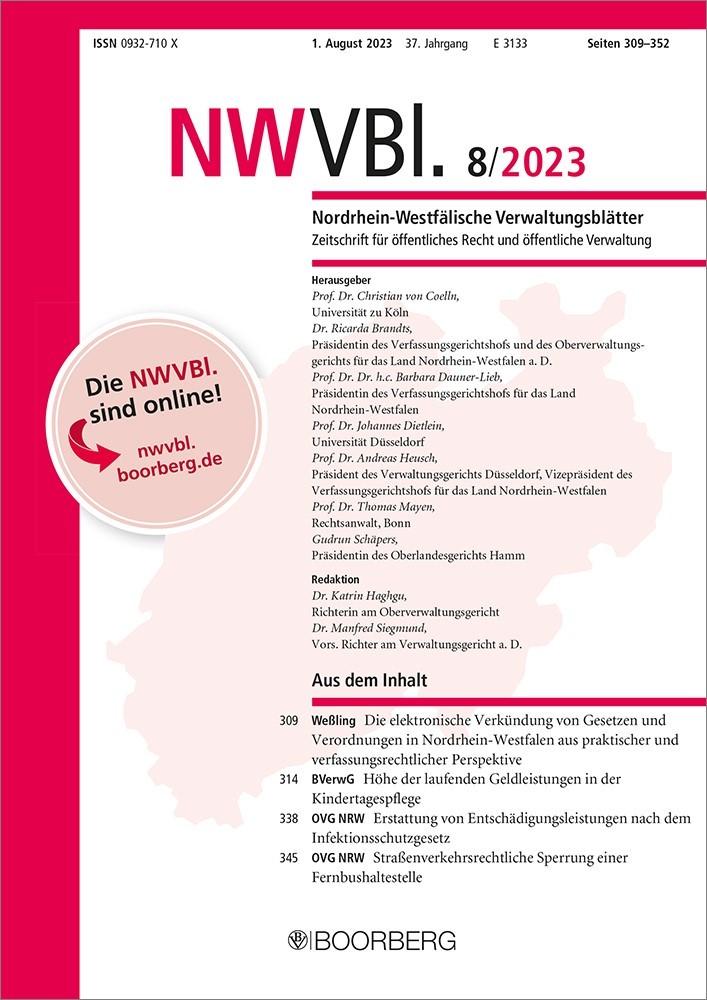 Abbildung von Nordrhein-Westfälische Verwaltungsblätter - NWVBl. | 33. Jahrgang | 2019