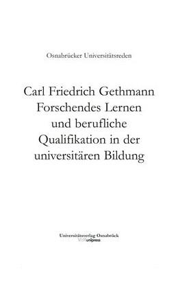 Abbildung von Gethmann | Forschendes Lernen und berufliche Qualifikation in der universitären Bildung | 2013 | Band 007