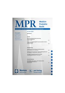 Abbildung von Medizin Produkte Recht • MPR | 20. Jahrgang | 2020 | Zeitschrift für das gesamte Me...