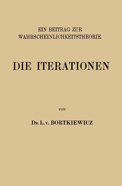 Die Iterationen   Bortkiewicz, 1917   Buch (Cover)