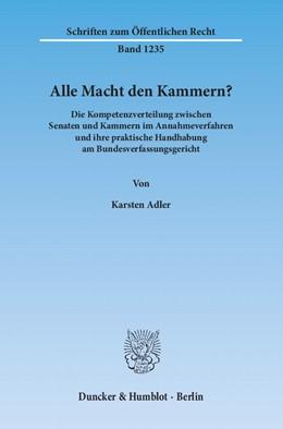Abbildung von Adler | Alle Macht den Kammern? | 1. Auflage 2013 | 2013 | Die Kompetenzverteilung zwisch... | 1235