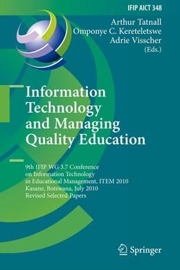 Abbildung von Tatnall / Kereteletswe / University of Twente | Information Technology and Managing Quality Education | 2013 | 9th IFIP WG 3.7 Conference on ... | 348