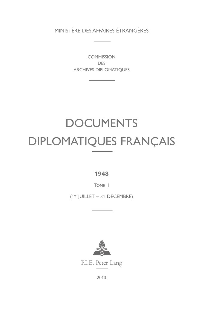 Abbildung von Documents diplomatiques français | 2013