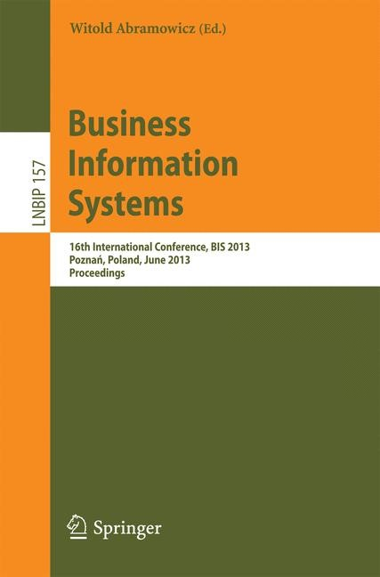 Business Information Systems | Abramowicz | 1st Edition 2013, 2013 | Buch (Cover)