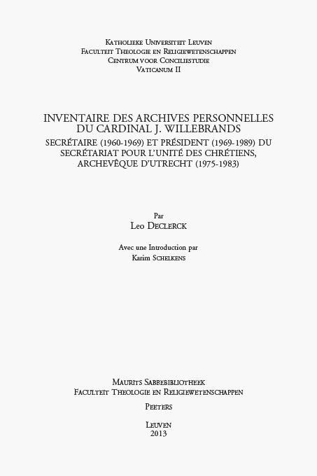 Abbildung von Declerck | Inventaire des archives personnelles du Cardinal J. Willebrands | 2013