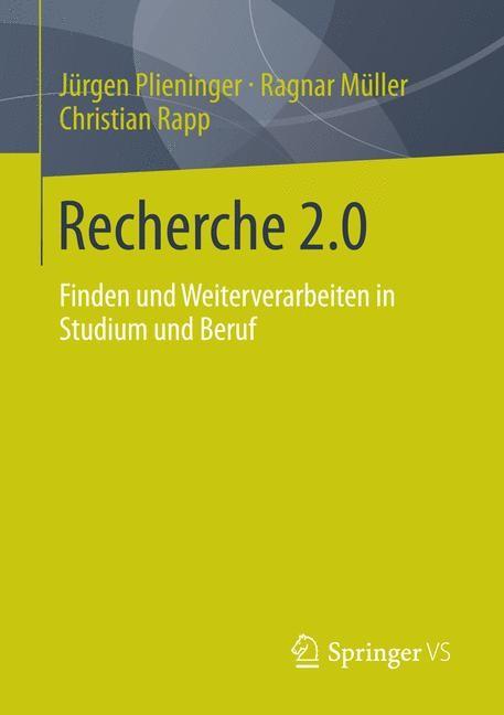 Recherche 2.0 | Müller / Plieninger / Rapp, 2013 | Buch (Cover)