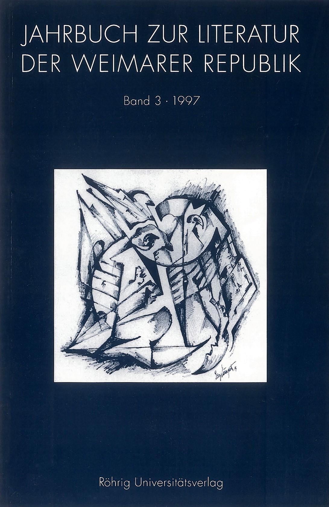 JAHRBUCH ZUR KULTUR UND LITERATUR DER WEIMARER REPUBLIK, 1997   Buch (Cover)