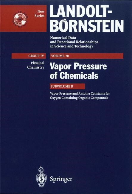 Abbildung von Vapor Pressure and Antoine Constants for Oxygen Containing Organic Compounds | 2000