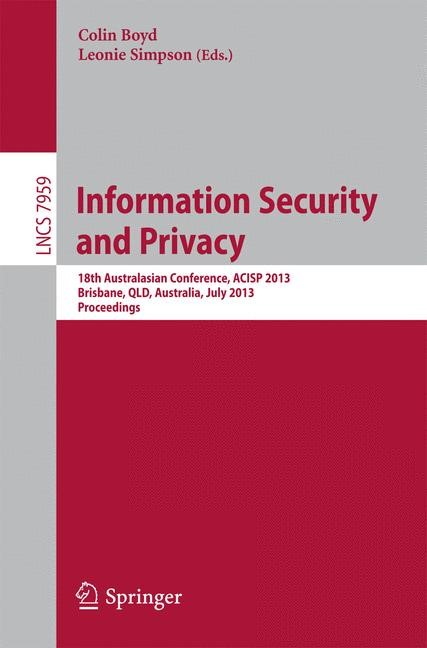 Information Security and Privacy | Boyd / Simpson, 2013 | Buch (Cover)