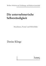Abbildung von Klinge   Die unternehmerische Selbstständigkeit   1. Auflage 2013   2013