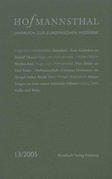 Abbildung von Neumann / Renner / Schnitzler   Hoffmansthal-Jahrbuch zur Europäischen Moderne   2005
