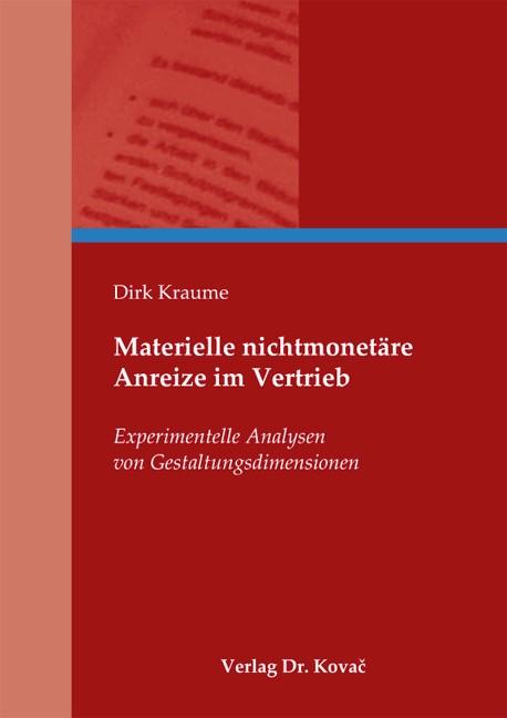 Abbildung von Kraume   Materielle nichtmonetäre Anreize im Vertrieb   1. Auflage 2013   2013