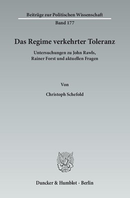 Abbildung von Schefold | Das Regime verkehrter Toleranz | 2013 | Untersuchungen zu John Rawls, ... | 177