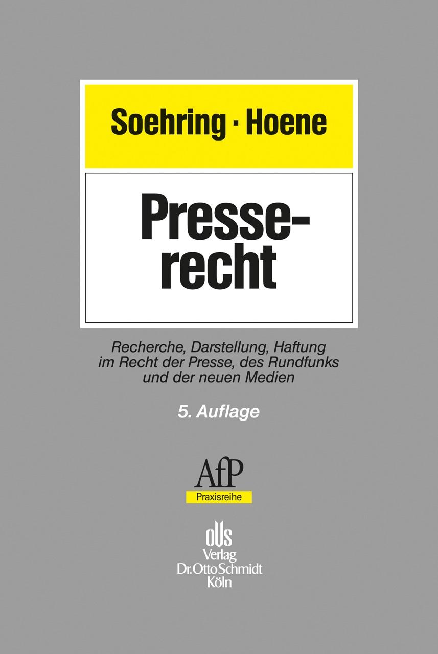 Presserecht | Soehring / Hoene | 5. Auflage, 2013 | Buch (Cover)