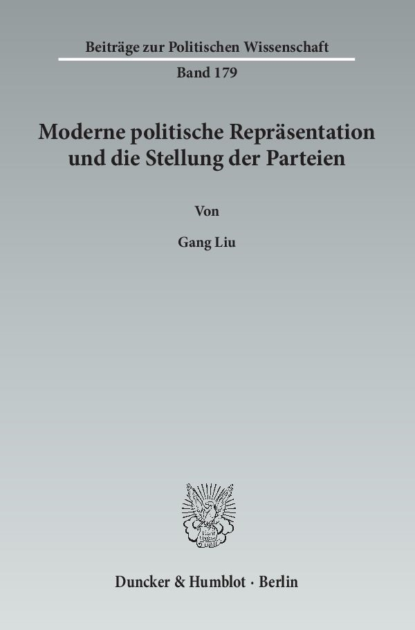 Moderne politische Repräsentation und die Stellung der Parteien   Liu, 2013   Buch (Cover)