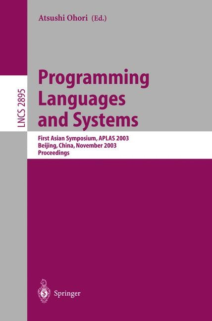 Programming Languages and Systems | Ohori, 2003 | Buch (Cover)