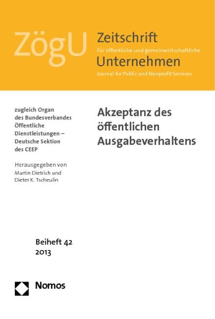 Akzeptanz des öffentlichen Ausgabeverhaltens | Dietrich / Tscheulin, 2013 | Buch (Cover)