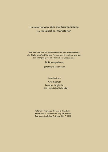 Untersuchungen über die Krustenbildung an metallischen Werkstoffen | Junghahn, 1960 | Buch (Cover)