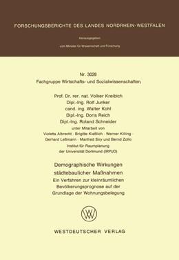 Abbildung von Kreibich | Demographische Wirkungen städtebaulicher Maßnahmen | 1981 | Ein Verfahren zur kleinräumlic...