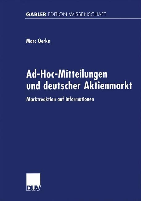 Ad-Hoc-Mitteilungen und deutscher Aktienmarkt, 1999 | Buch (Cover)