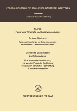 Abbildung von Giesbrecht | Berufliche Sozialisation im Referendariat | 1. Auflage | 1983 | beck-shop.de