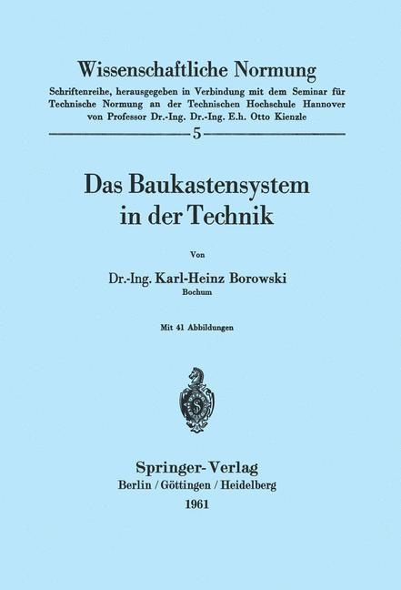 Abbildung von Borowski | Das Baukastensystem in der Technik | 1961