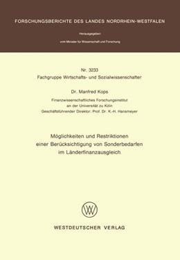 Abbildung von Kops | Möglichkeiten und Restriktionen einer Berücksichtigung von Sonderbedarfen im Länderfinanzausgleich | 1. Auflage | 1989 | beck-shop.de