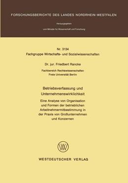 Abbildung von Rancke | Betriebsverfassung und Unternehmenswirklichkeit | 1. Auflage | 1982 | beck-shop.de