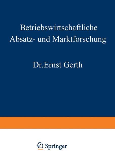 Abbildung von Gerth   Betriebswirtschaftliche Absatz- und Marktforschung   2012