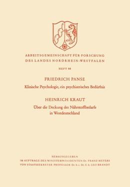 Abbildung von Kraut   Klinische Psychologie, ein psychiatrisches Bedürfnis / Über die Deckung des Nährstoffbedarfs in Westdeutschland   1960   88