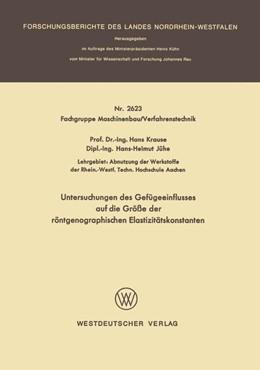 Abbildung von Krause | Untersuchungen des Gefügeeinflusses auf die Größe der röntgenographischen Elastizitätskonstanten | 1977