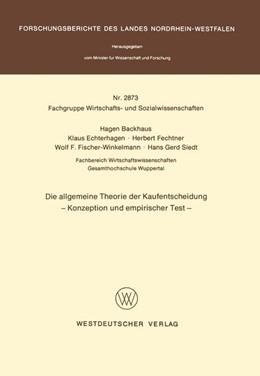 Abbildung von Backhaus | Die allgemeine Theorie der Kaufentscheidung | 1. Auflage | 1979 | beck-shop.de