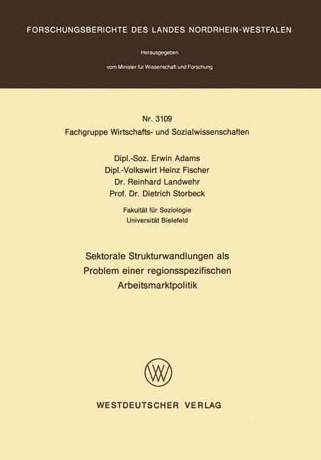 Abbildung von Adams | Sektorale Strukturwandlungen als Problem einer regionsspezifischen Arbeitsmarktpolitik | 1982