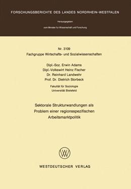 Abbildung von Adams | Sektorale Strukturwandlungen als Problem einer regionsspezifischen Arbeitsmarktpolitik | 1. Auflage | 1982 | beck-shop.de