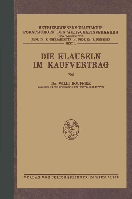 Die Klauseln im Kaufvertrag | Bouffier / Oberparleiter / Findeisen, 1929 | Buch (Cover)