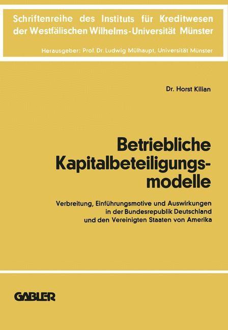 Betriebliche Kapitalbeteiligungsmodelle | Kilian, 1978 | Buch (Cover)